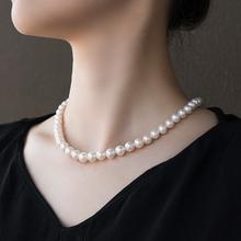 正品天然珍珠贝珠母贝珍珠项链正圆生日礼物送妈妈婆婆母亲节礼物