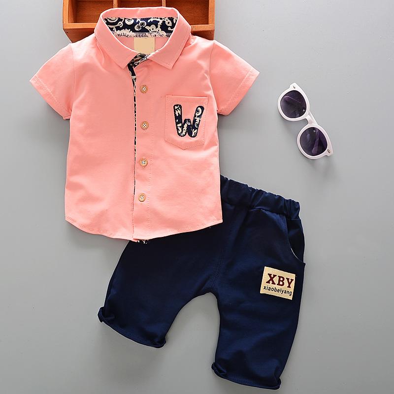 2018新款夏装男童短袖套装洋气衬衫券后25.80元