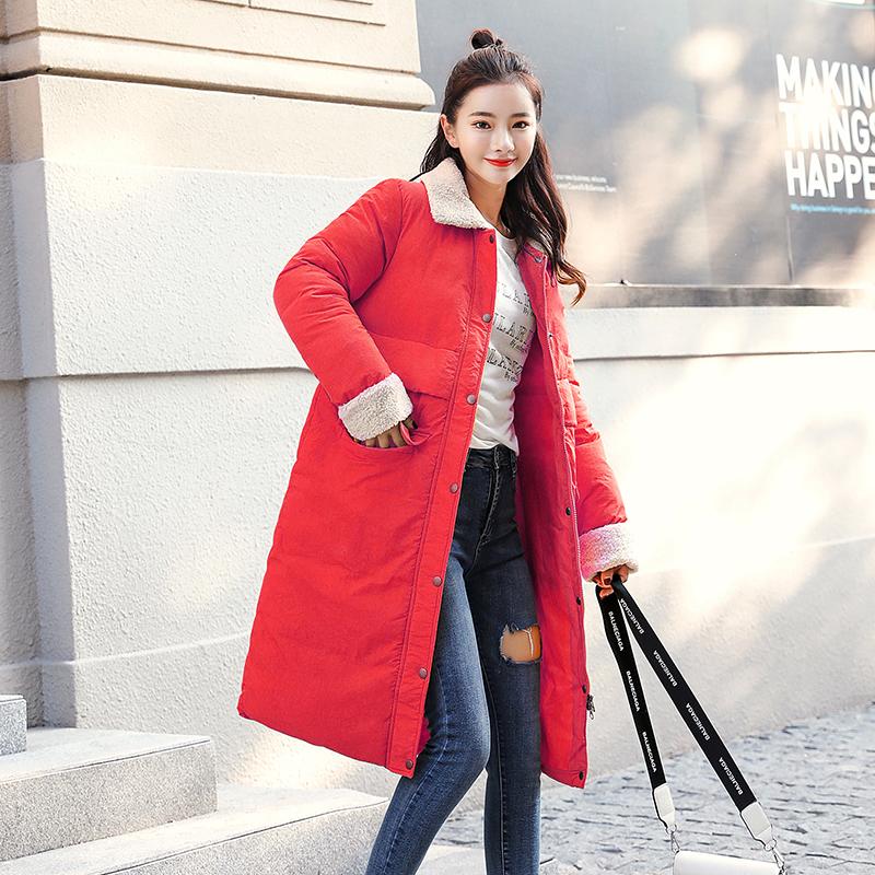 实拍18新款羽绒棉服女韩版中长款羊羔毛时尚学生棉衣修身外套