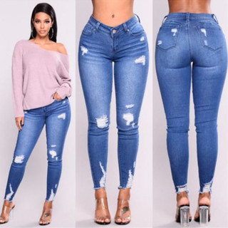 2019fashion ripped jeans women elastic pants causal trousers, цена 431 руб