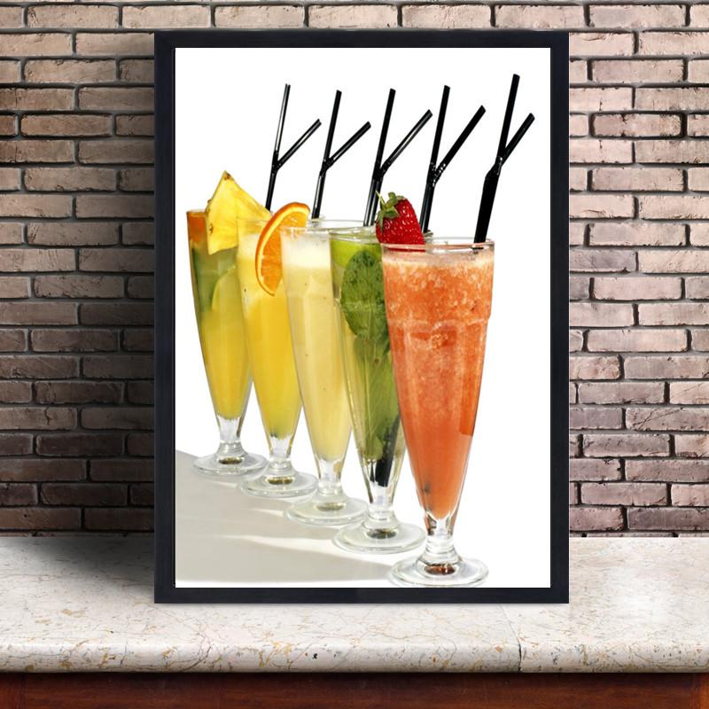 奶茶店甜品店挂画果汁饮料墙面装饰画吧台壁画水吧个性创意有框画