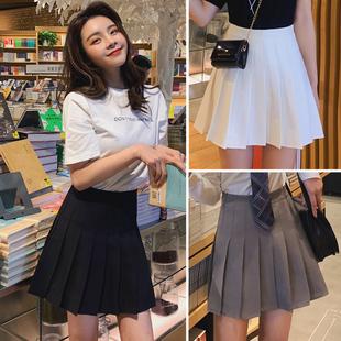 黑色百褶裙半身裙女春秋灰色白色高腰春款西装jk2021新款短裙夏