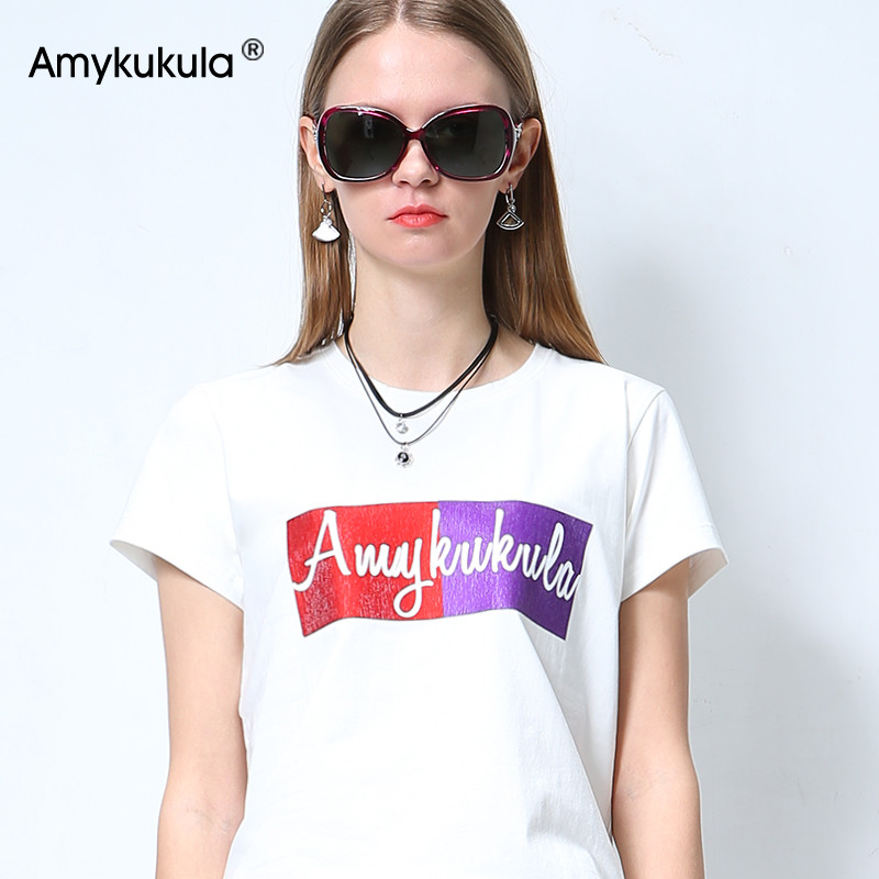 White T-shirt womens short sleeve spring 2019 new ins fashion loose print with half sleeve base coat