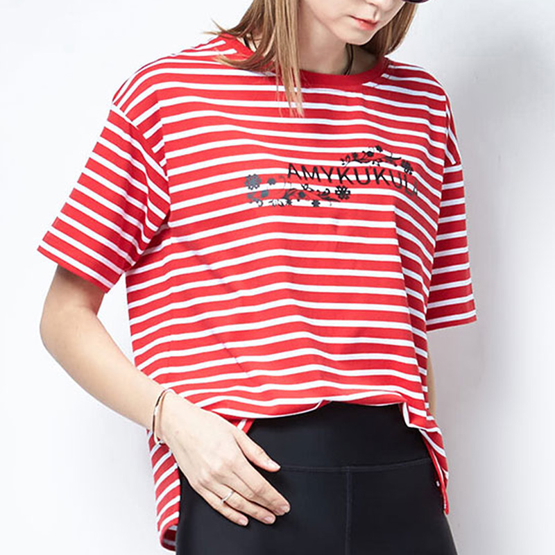 Color red stripe T-shirt women 2020 new Korean version large round neck short sleeve loose cotton fat mm letter summer thin