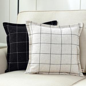 绵麻布艺方格压边抱枕居家客厅靠垫办公室床头靠枕汽车腰枕午睡枕