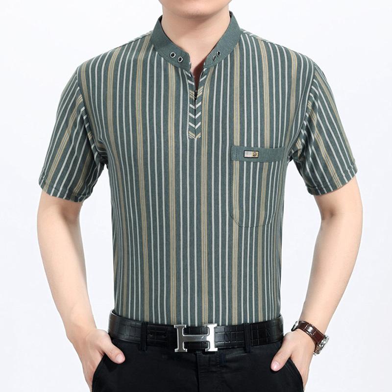 男式竖条纹立领大码短袖T恤中老年半袖上衣服装中年夏季天体恤衫