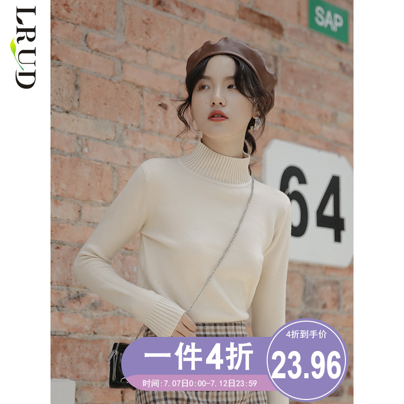 Lrud high necked sweater women's new bottoming sweater in autumn and winter 2019, westernized and slim knit, fashionable in Pullover