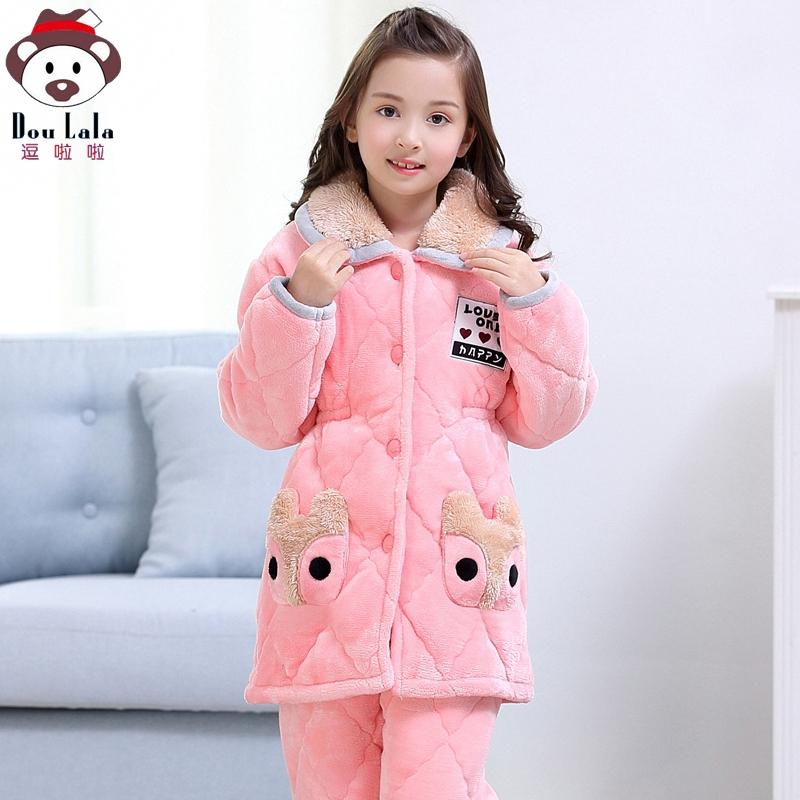 儿童睡衣冬季夹棉加厚中长款女童珊瑚绒法兰绒睡衣中大童女孩秋冬