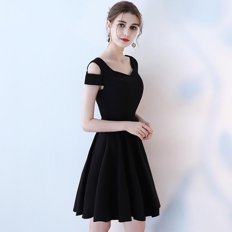 黑色晚礼服2018新款夏季显瘦聚会宴会小礼服短款女生日派对连衣裙