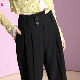 小西裤女秋季款九分裤宽松直筒西装裤女高腰烟管显瘦毛呢哈伦裤子