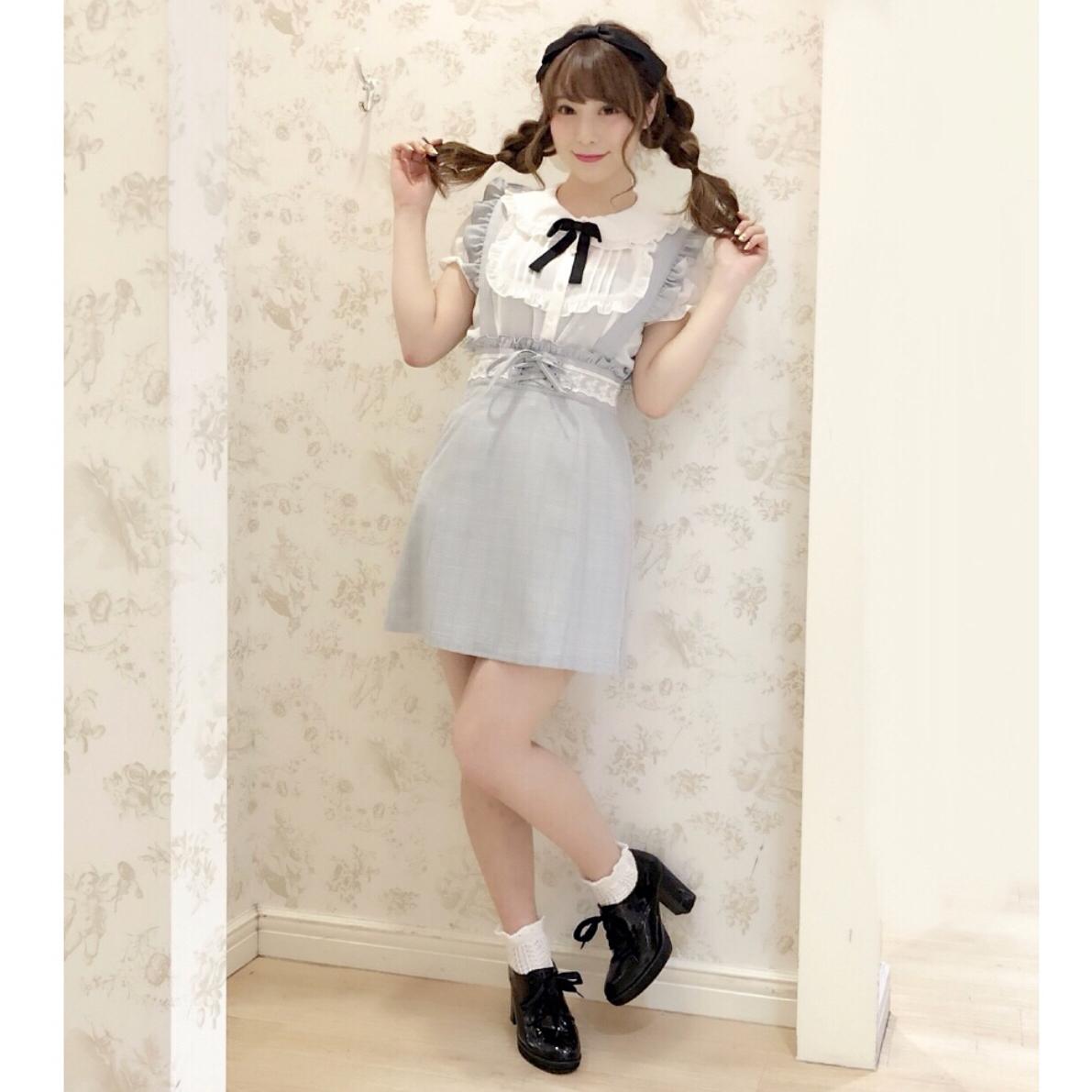 JG大码女装日系ankrouge超甜学院风萝莉衬衣衬衫格子背带裙两件套