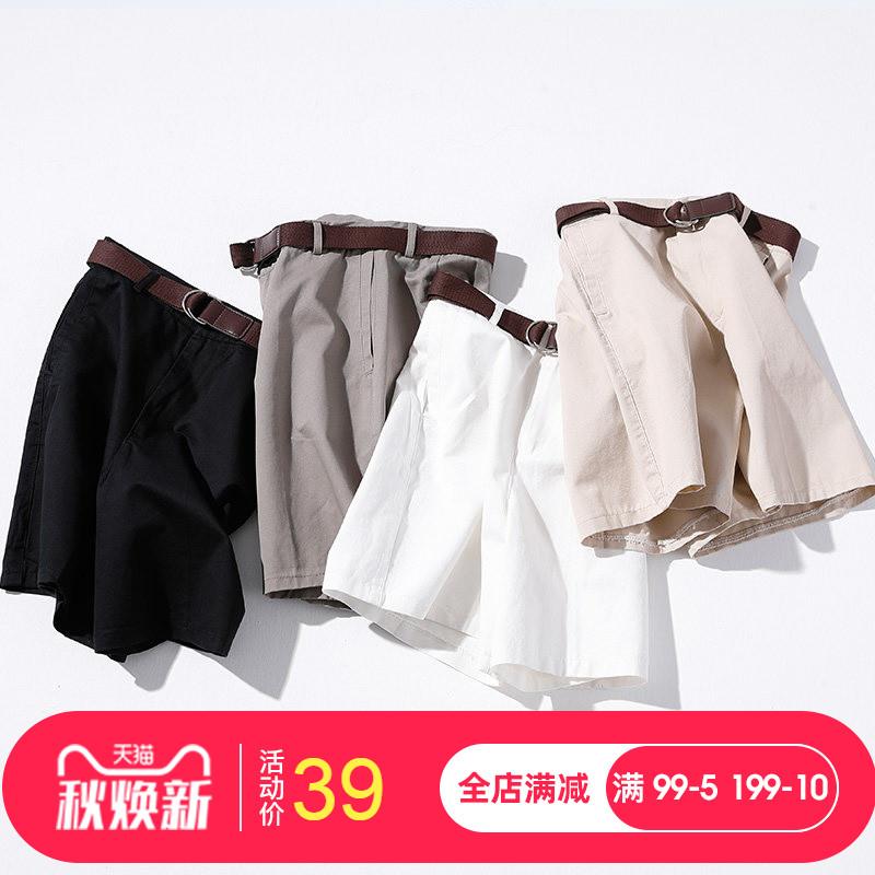 2019夏季新款工装高腰阔腿短裤女宽松显瘦五分裤休闲中裤a字裤子