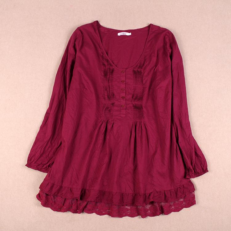 女装加大码秋季休闲衬衫圆领长袖单排扣压褶裙衫上衣GE816E15EF03