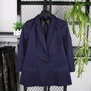 春秋季女士简约纯色后开衩一粒扣OL风格通勤修身长袖西装外套C8B2
