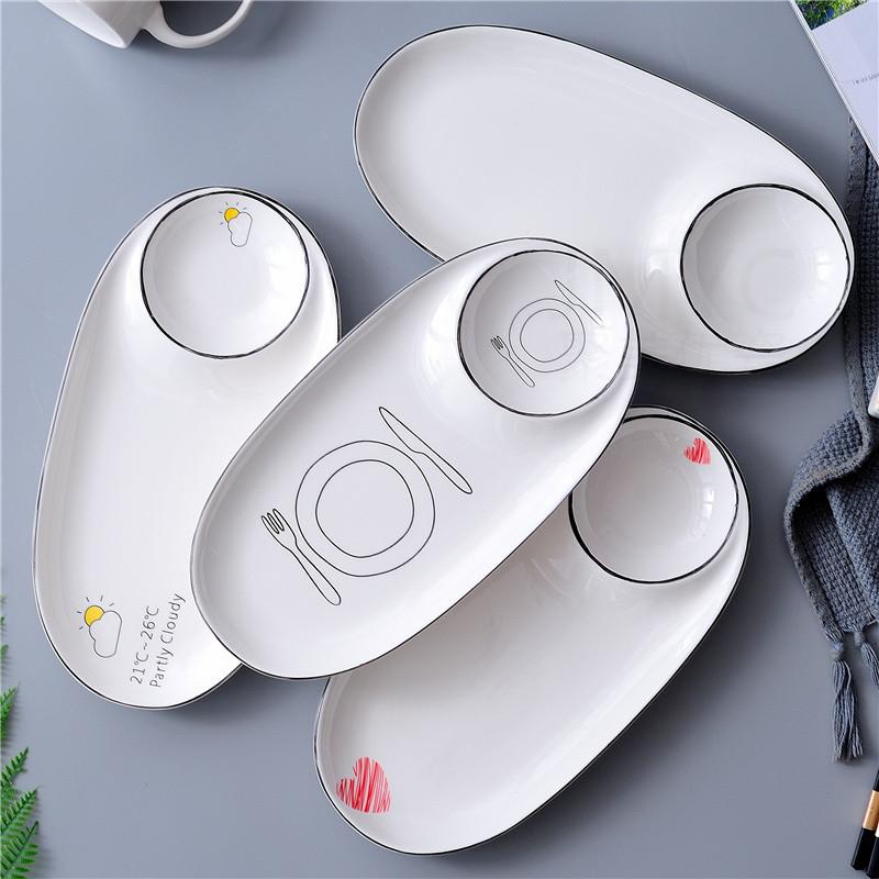 满12元可用1元优惠券陶瓷椭圆盘饺子盘寿司长盘小吃盘家用餐盘海鲜盘创意摆盘带碟盘子
