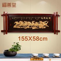 張大千國畫豎版書房客廳走廊過道實木有框掛畫荷花中式玄關裝飾畫