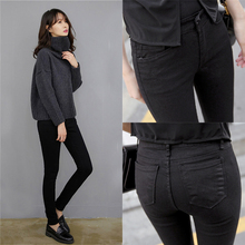 Plush and thickened black jeans women's high waist winter wear small feet nine point elastic show thin show high 2019 NEW