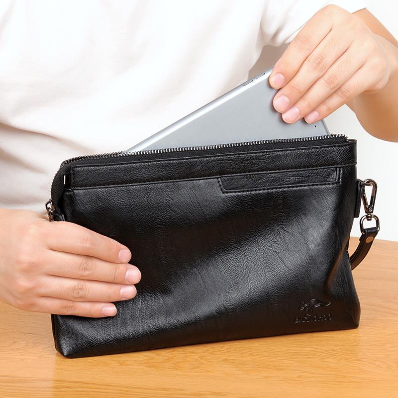 布言袋鼠手包男新款包潮大容量休闲软皮手拿包男士夹包信封包男包