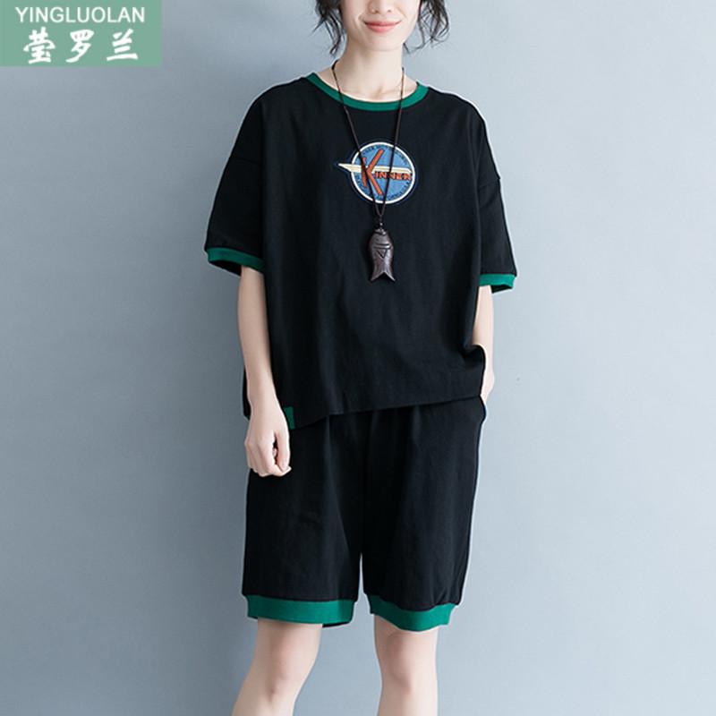 200斤胖mm夏装短袖T恤上衣+短裤宽松特大码女装休闲运动两件套装