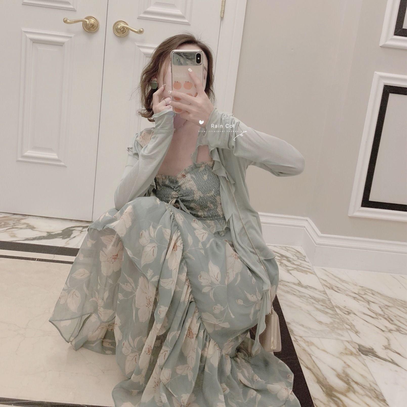 2021 new chiffon skirt Korean summer lotus lace suspender dress super Fairy Dress