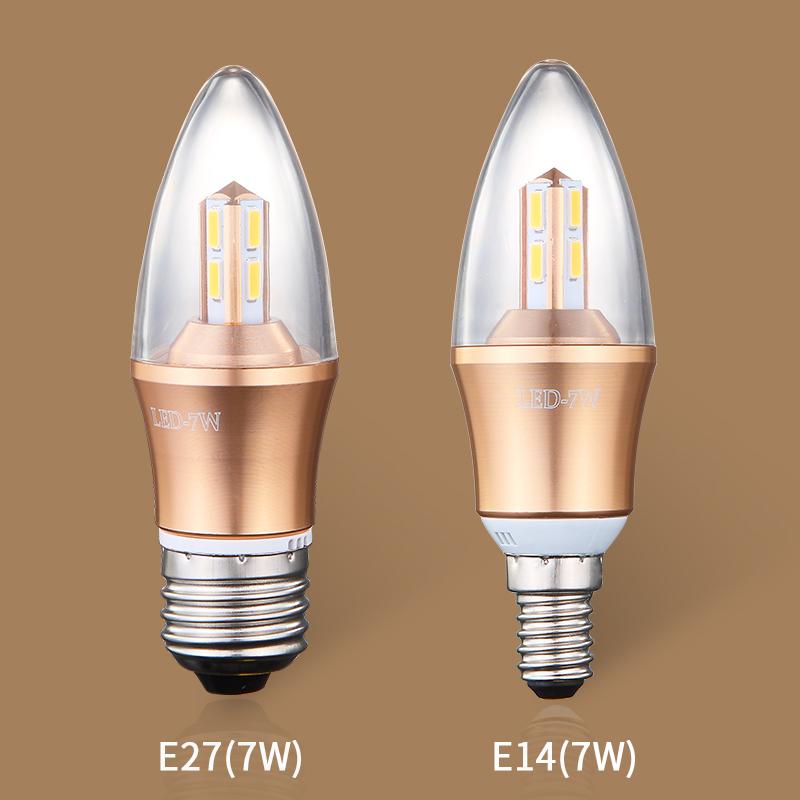 月影凱頓 led燈泡e14E27暖白led光源 5W7W超節能燈大小螺口尖泡
