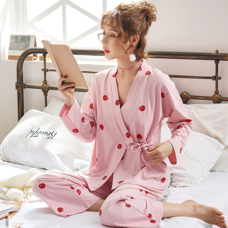 春秋睡衣女长袖纯棉宽松韩版两件套装粉色樱桃开衫系带和服家居服
