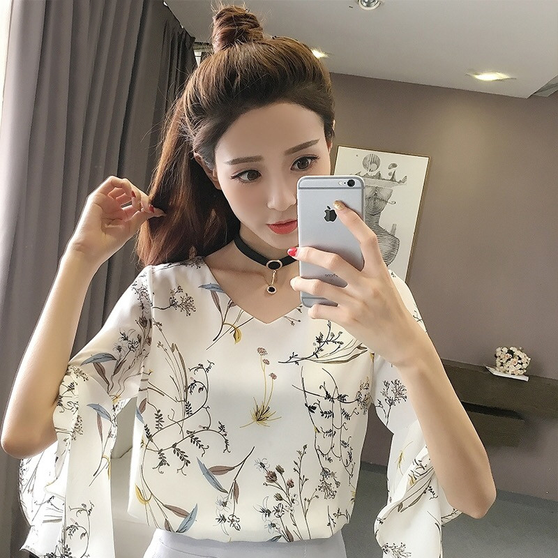 雪纺衫短袖2018夏季女装新款雪纺衬衫短袖上衣服喇叭袖超仙显瘦