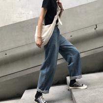 春秋新款大码胖mm高腰宽松复古直筒牛仔裤女装200斤显瘦阔腿长裤