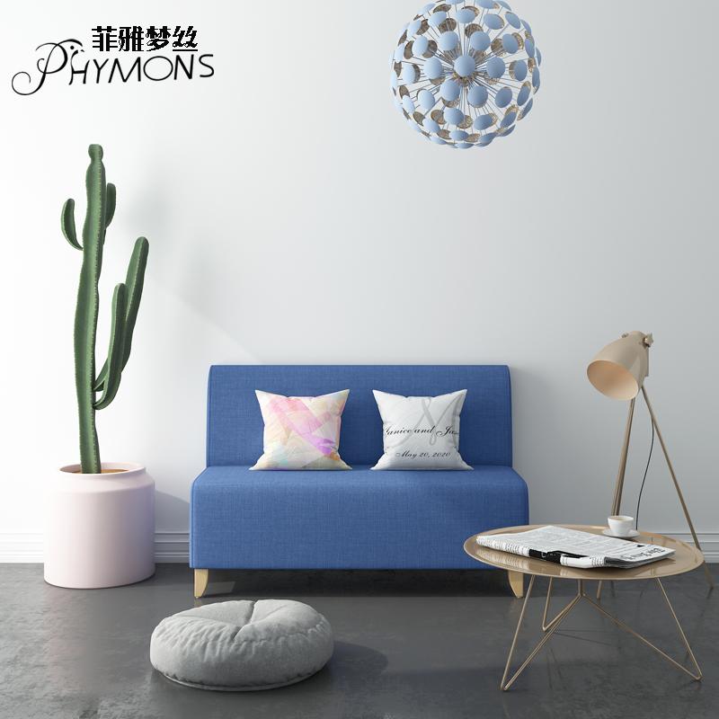 布艺沙发小户型经济型现代简约实木三双人服装店休息沙发凳靠背凳