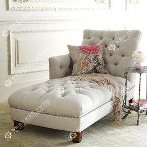 美式乡村卧室布艺家具简约欧式懒人沙发椅贵妃椅单人躺椅现货