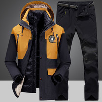 2018 Winter thickening down charge suit set men outdoor big code waterproof down tank charge clothes coat man