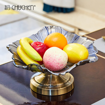 Creative European luxury Metal crystal glass fruit tray fruit basin living room indoor coffee table Fruit Basket Model Room Decorations