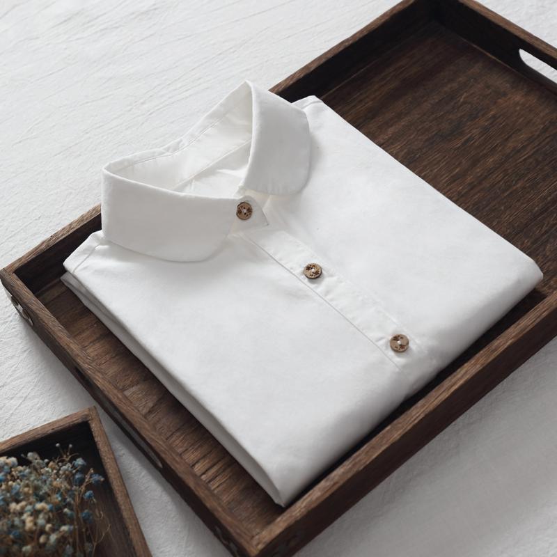 加绒加厚保暖白衬衫女装纯棉长袖百搭修身打底衫内搭衬衣简约文艺