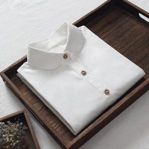 白衬衫女秋装2019新款纯棉打底衫