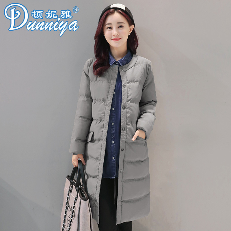Cotton padded womens medium and long thickened warm winter clothes 2020 new Korean slim fit hoodless round neck cotton padded jacket for women
