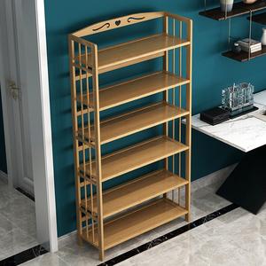 书架楠竹置物架落地省空间家用经济型学生儿童简易书柜实木收纳架