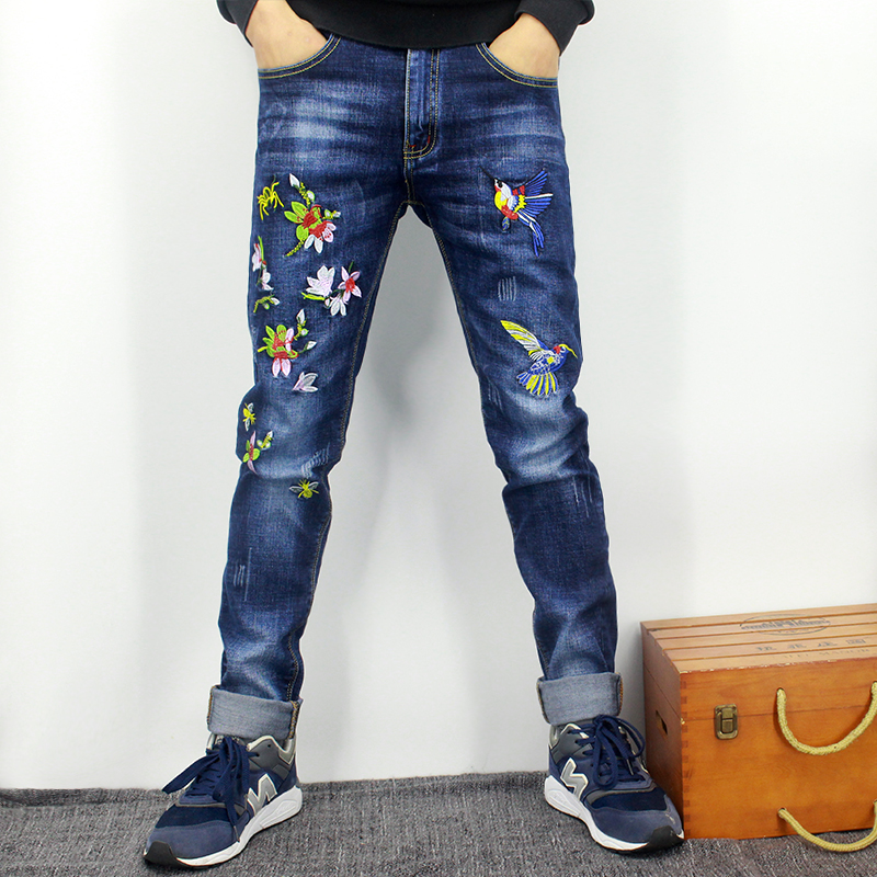 Embroidered jeans mens pattern youth Niuzi pants mens slim straight pants embroidered fashionable pants mens autumn and winter spiked trousers