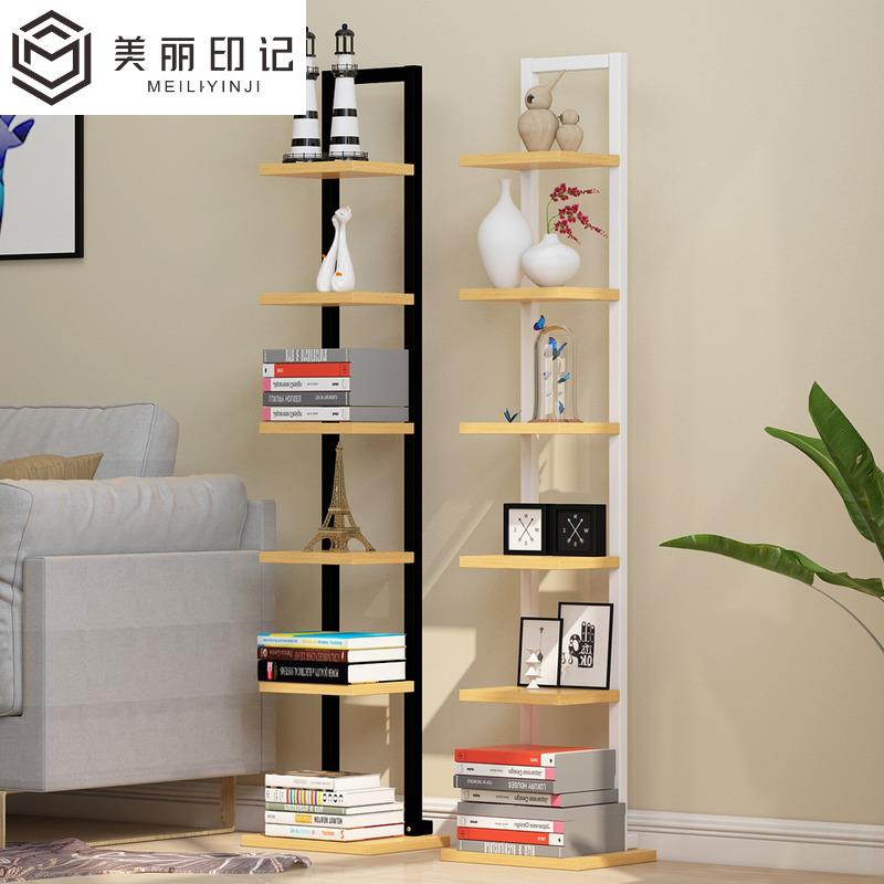 一字置物架简约现代书架小钢木架落地花架客厅卧室墙角装饰架窄架