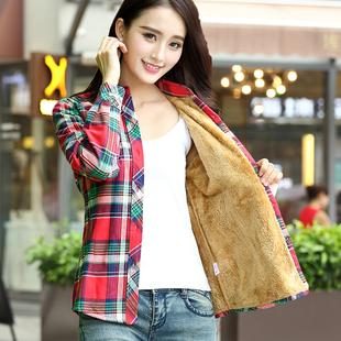 衬衣大码 女装 加厚 秋冬外套打底寸韩版 女长袖 纯棉格子保暖加绒衬衫