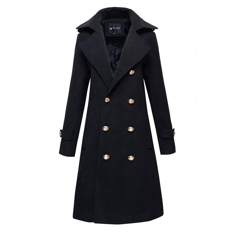 冬季加厚毛呢風衣個姓帥氣外套韓版加長款軍大衣情侶中長款風衣