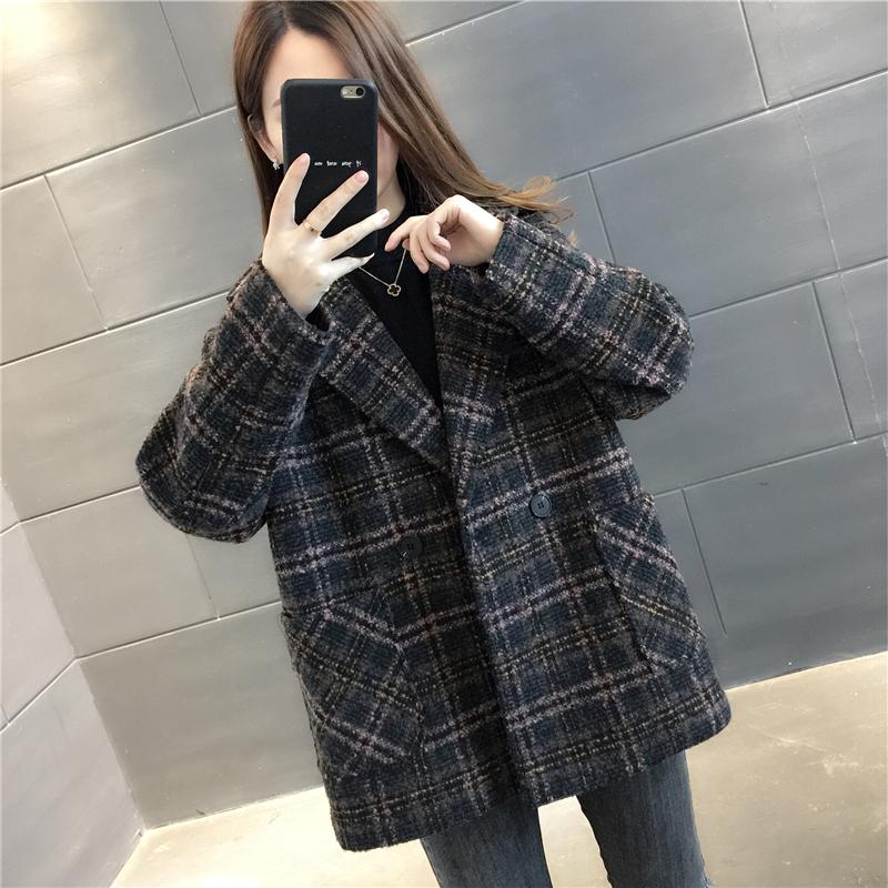 小香风毛呢大衣女小个子2020年新款春季格子外套短款呢子春秋西装图片