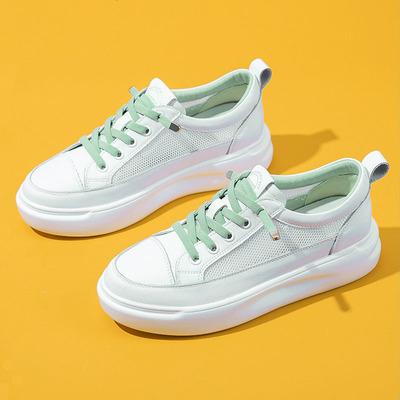 拍下108元 网面真皮夏季网鞋厚底小白鞋女鞋