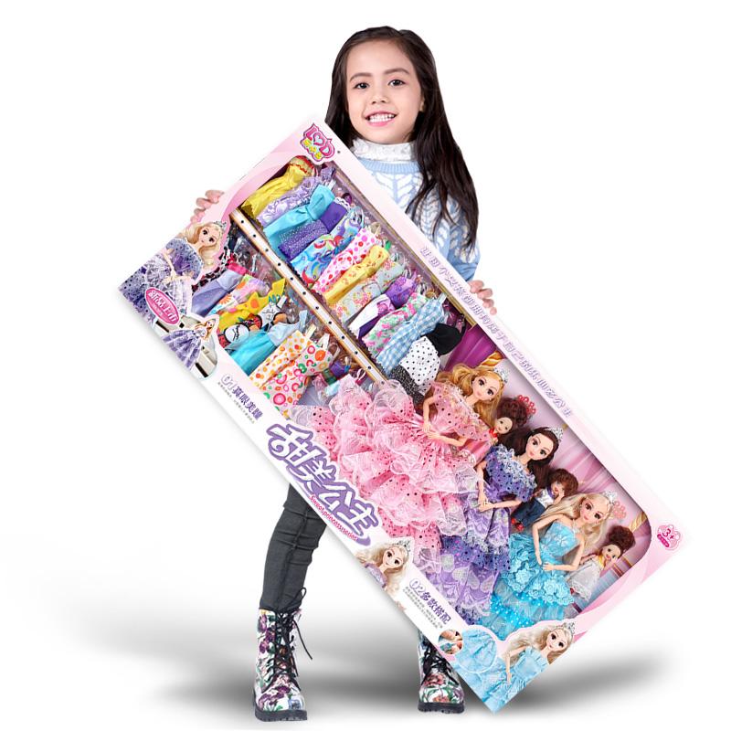 樂心多芭比洋娃娃套裝大 婚紗公主衣服兒童女孩玩具城堡別墅