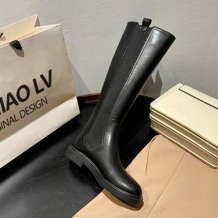 妙侣骑士靴女鞋2021新款冬季长筒靴不过膝长靴加绒瘦瘦高筒女靴子