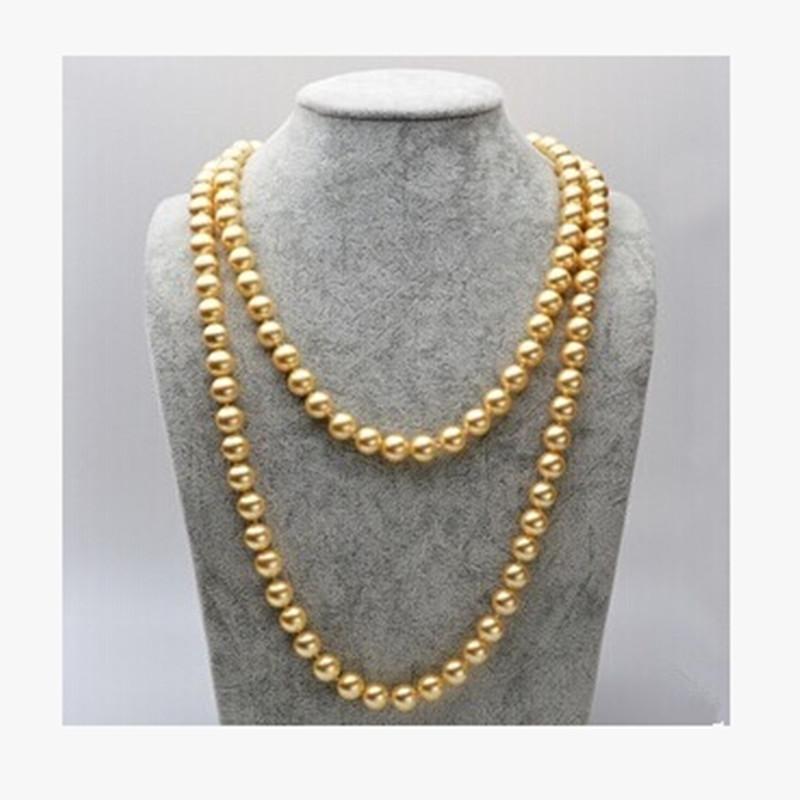 海水天然南洋母贝金色珍珠项链长款毛衣链强光正圆微瑕高贵送妈妈