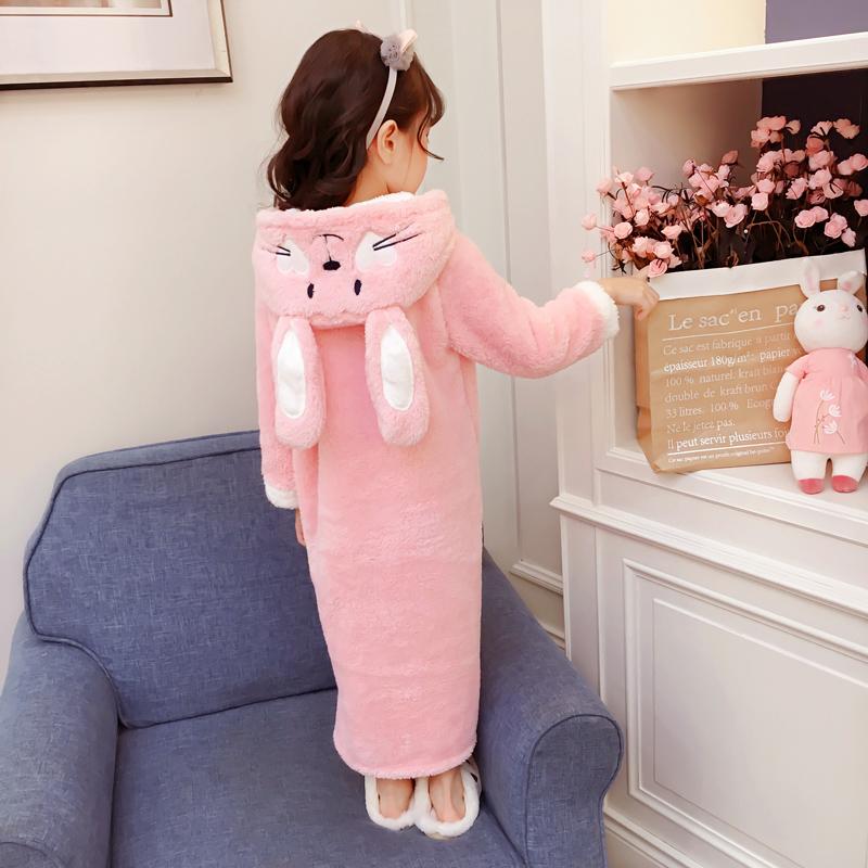 儿童珊瑚绒睡裙女童法兰绒冬季睡衣女孩加长款加厚睡袍公主家居服