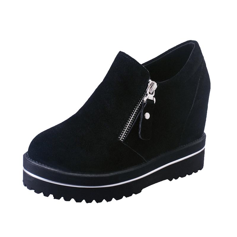 2016秋 厚底鬆糕短靴內增高加棉加厚百搭裸靴及踝靴女鞋子