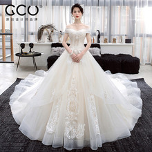 One-character shoulder wedding dress 2019 new French light dress bride tail luxury Qidisen simple small man