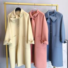 Medai flower 2019uus design sense side ear bow tie double side woolen overcoat women's autumn new