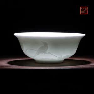 观复博物馆景德镇青白釉陶瓷瓷器家用茶杯日用茶具礼品对杯两只装